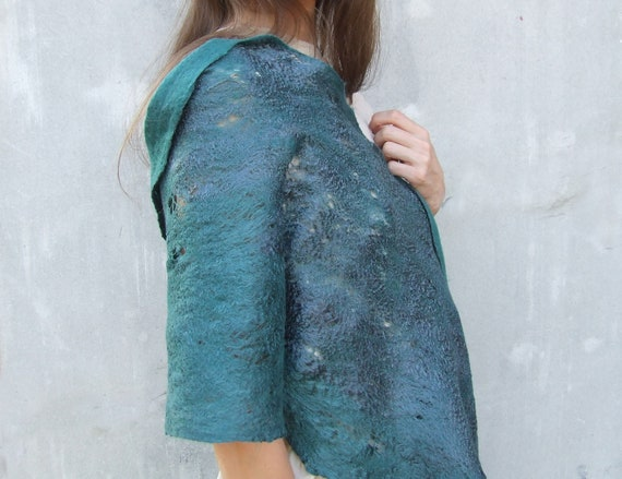 Teal cobweb shawl scarf for all seasons felting wool luxury cape wedding bridesmaid idea rustic fashion cij