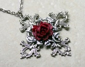 Gothic Cross Necklace with Red Rose