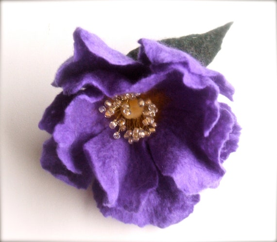 Purple Dog- Rose - handmade Felt Flower Brooch