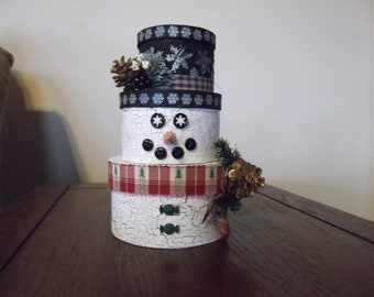 Christmas Decoration - Stacked Box Snowman - Round