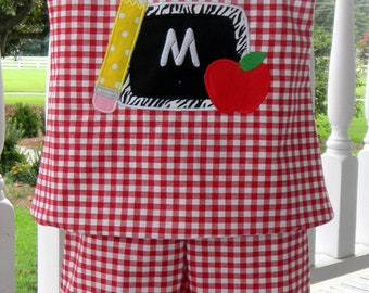 Handmade Personalized Back to School Outfit Chalkboard Pencil Apple Red and White Check