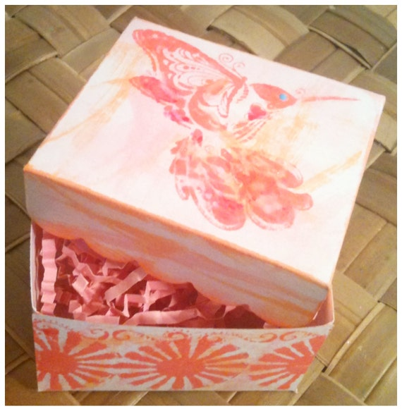 Hummingbird Gift Boxes (2) Handmade Inked Stamped Painted Boho Pink Coral Orange Small Gift Boxes Set of 2