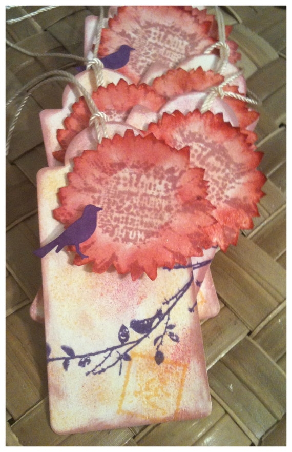 SIX Handmade Inked Stamped Birds Blooms Flowers Layered Colors Pink Mauve Purple Orange All Occasion Gift Tags