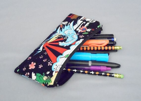 SALE 8 Inch Zipper Pouch Pencil Case Kawaii Surf Ninja