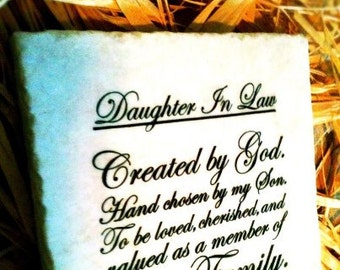 Daughter In Law Stone Sign Plaque Tile from DesignsbySyds.Etsy.com