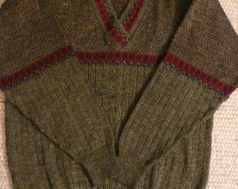 Vintage 1950s Beautiful, Grey, Red, Navy Blue, Unisex Wool Sweater Perfect