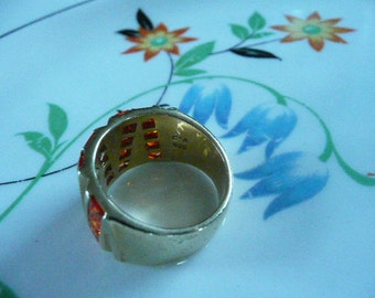Large Super Funky Gold Bling Ring Marked Canada 925