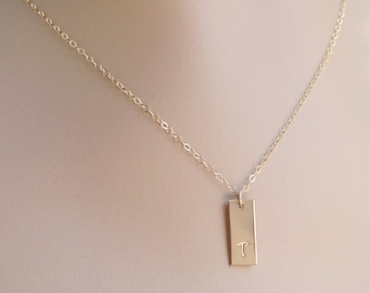 Personalized Gold Bar Necklace, 14k Gold Filled, Initial Monogram, Handmade, Short Bar, Nameplate, Gold Tag, Custom Hand Stamped