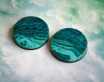 Pair of Chrysacolla Round Cabochons
