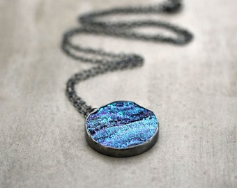 Galaxy Druzy Necklace, Cobalt Blue Violet Purple Teal Aqua Druzy Oxidized Sterling Silver Long Chain Necklace Deep Space - Nebula -