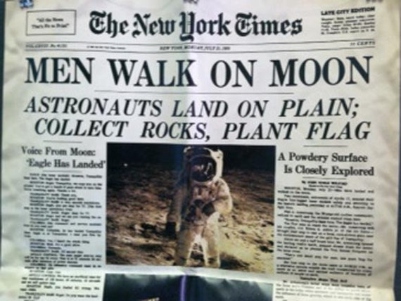 Photographic Print New york times First Walk on the Moon Landing Space the final Frontier