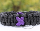 Chron's Disease Leimyosarcoma Fibromyalgia Cancer Awareness Ribbon 550 Paracord Survival Strap Bracelet Anklet with Side Release Buckle