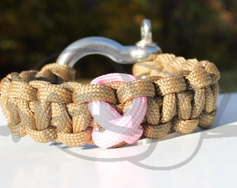 Breast Cancer Awareness Ribbon 550 Paracord Survival Strap Bracelet Anklet with Stainless Steel Shackle