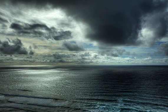 Ocean photography  Storm Photography Landscape Photography Fine Art Photography Blue Silver Storm Grey Ocean Print Water Photograph