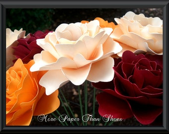 Paper Flowers - Fall Flowers - Stemmed - Mixed Colors - Handmade - Made To Order - Set of 24