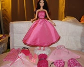SALE - Pretty in Pink Gift Set - Fashion Doll, 6 piece pink wardrobe & accessory set - G