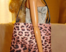 Trendy pink Leopard Fashion Doll sized tote bag purse - bap10