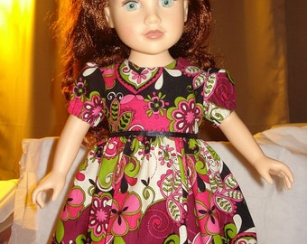 Hot pink, lime and black floral dress for 18 inch Dolls - ag100