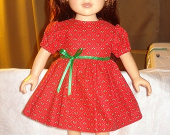 SALE - Holiday dress in red with tiny green holly print for 18 inch Dolls - ag127