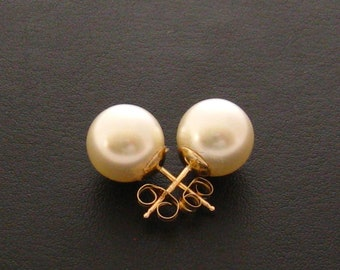 Stud Pearl Earrings, 14 Carat Gold Filled 10 mm Large Pearl Earring Studs, Sweet 16, Pearl Ear Studs, Wedding Jewelry, Bridesmaids Gifts