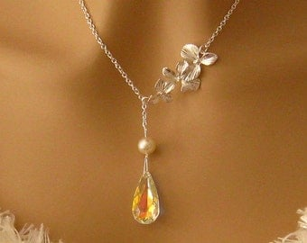 Yellow Wedding Jewelry: Swarovski Crystal Yellow Bridal Necklace Orchid Pearl Sterling Silver Yellow Bridesmaids Gift Wedding MOH Necklace
