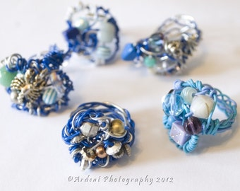 Blue Wire Nest Rings with Funky Beads - Blue Magpie Rings - Art Jewelry by Sarah McTernen