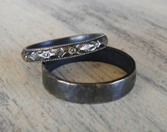 Sterling Silver Rings - His and Hers Wedding Rings - Black Diamond Patterned Ring Band and Hammered Sterling Silver Ring Band