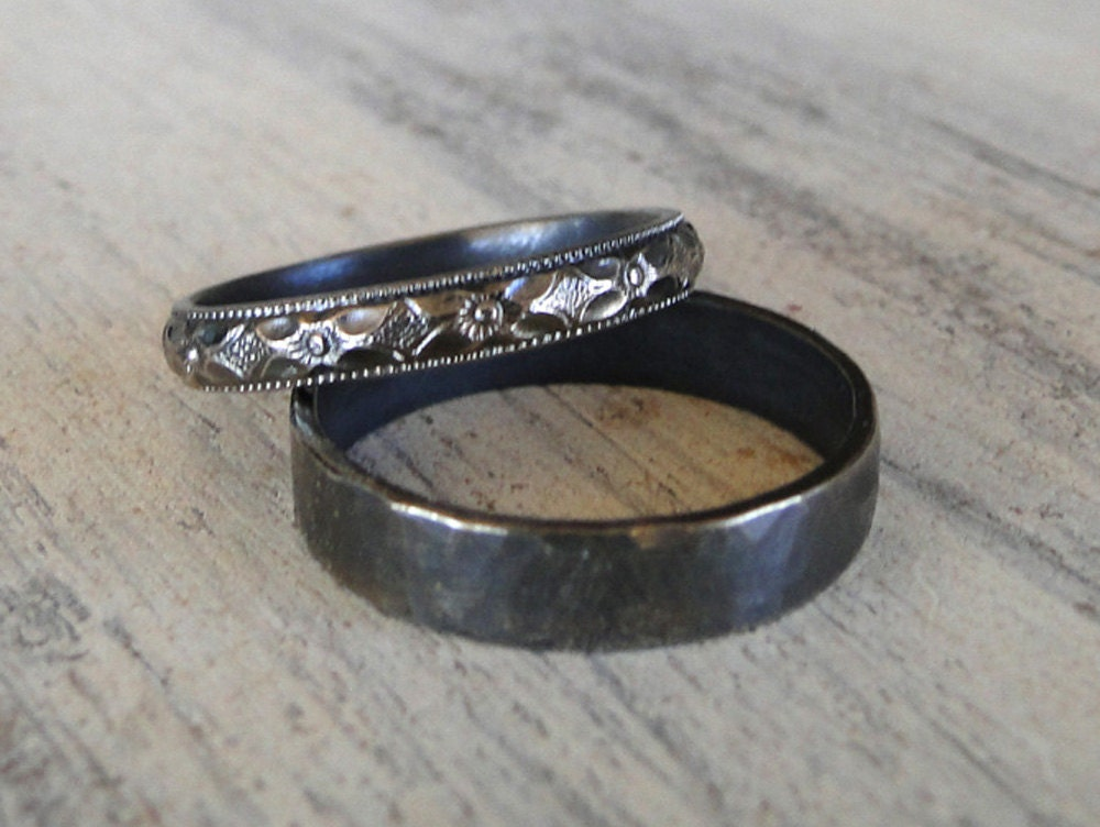Sterling Silver Rings His And Hers Wedding Rings Black