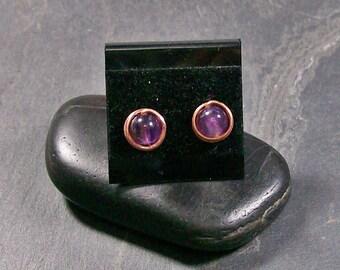 Amethyst & Copper Stud Post Earrings