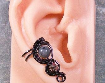 Larvikite Ear Cuff, Goth Black Ear Cuff, Woven Wire Ear Cuff, Larvikite Earring, Wire-Wrapped Larvikite