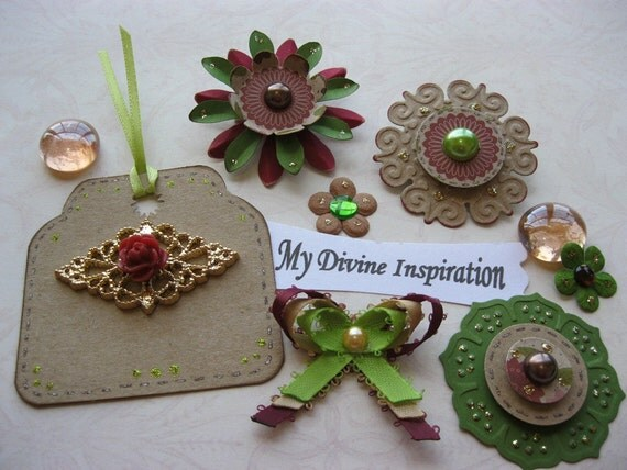 On Sale Burgundy Olive and Brown Paper Embellishments and Paper Flowers for Scrapbooking Cards Mini Albums and Papercrafts