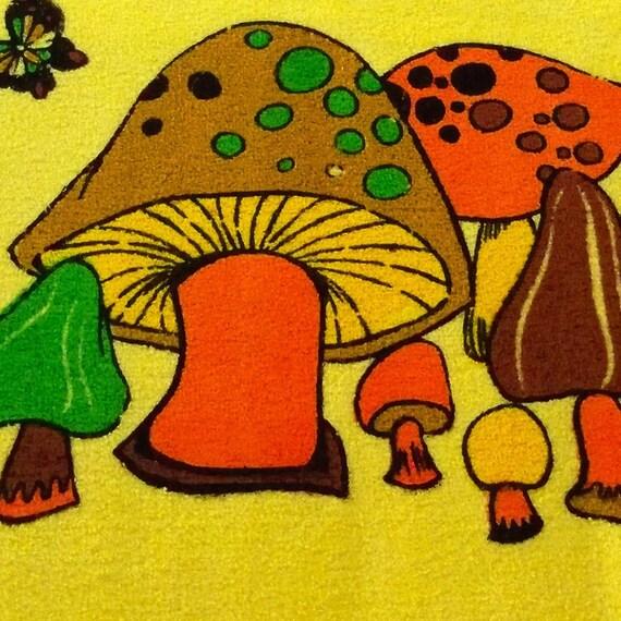 Vintage 70s Mushroom Hand Towel Burnt Orange Yellow New Unused