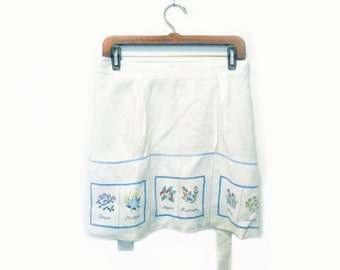 Vintage Linen Apron with Embroidered Herbs