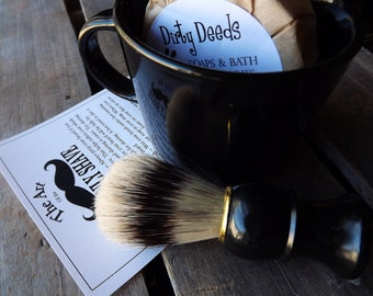 Shaving Mug Set Black, Vintage Styled Shaving Mug, Grooming Kit, Boar Brush, Handmade Soap