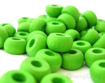 Wood Beads, Spring Green, Hemp Macrame Beads, Wood Crow Pony Beads 6x10mm - Large Beading Hole - 50pc