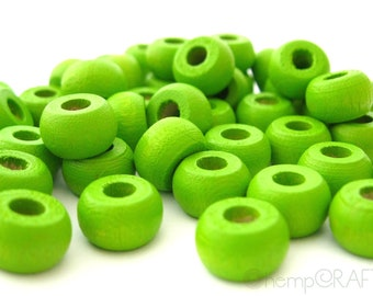 Wood Beads, Lime Green Wood Crow Pony Beads, Hemp Macrame Beads 6x10mm - 50pc