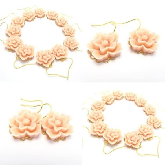 Bridesmaids  Floral Pink Earrings , Feminine pretty, 18 Dollars - flower girl - great gift