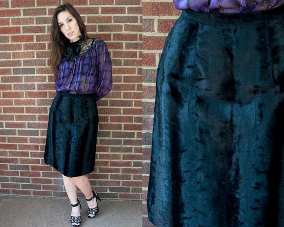70s Vintage Black Faux Fur Pencil Skirt (S, M)