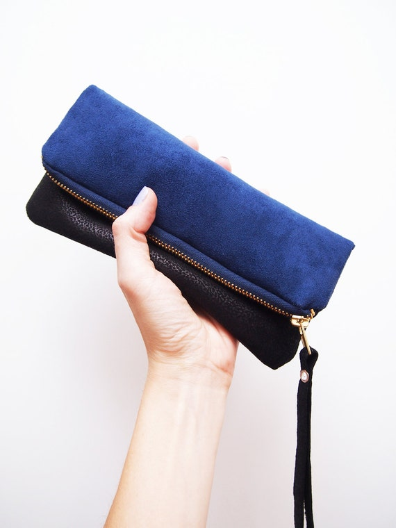 Zipper fold over pouch blue and black Two-tone zipper clutch Black faux leather and imitation suede fabric