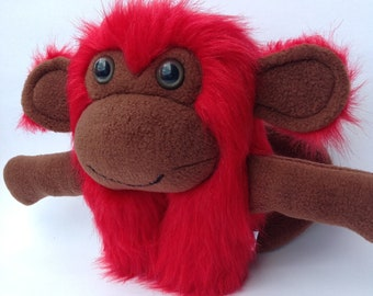 Furry plush monkey monster red faux fur and brown fleece- Rennard
