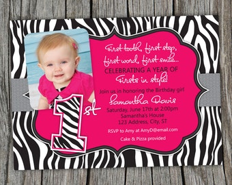 Sassy Pink Zebra Print -  First Birthday Party Printable Photo Invitation  -- Any Color