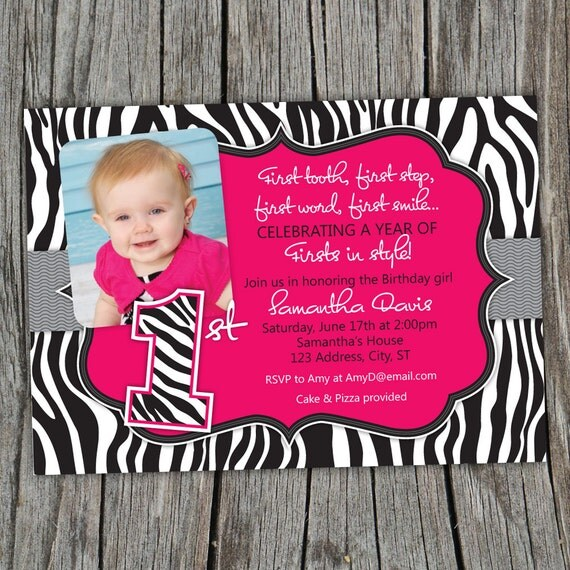Pink Zebra Print Girls 1st Birthday Invitation: Sassy Pink Zebra Print First Birthday Party Printable Photo