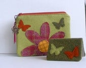 Flower and butterflies wool felt wallet