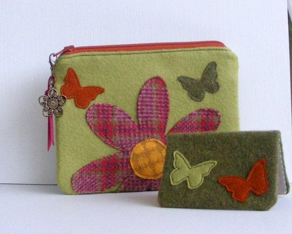 Flower and butterflies wool felt wallet