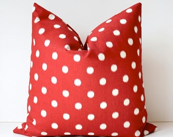 Ikat polka dots Modern Decorative Designer Pillow Cover 18 Red crimson Accent Cushion spot dot holiday decor vermilion christmas