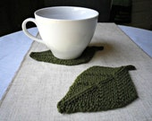 Knit Leaf Coasters, Olive Green - Set Of Two