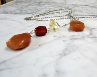Gamblers Talisman Aventurine, Citrine and Carnelian with Silver Chain Lower Chakra Balancing and Healing Lariat Necklace
