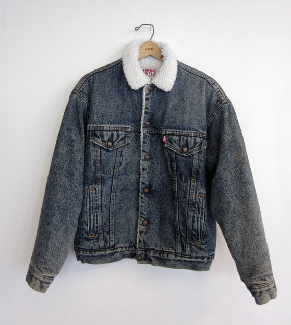 vintage 80's LEVIS san francisco made in usa jean jacket winter with faux shearling warm skater hipster mens medium