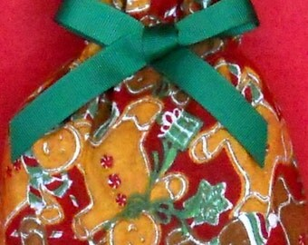 Gingerbread Men Small Fabric Gift Bag - Holidays, Cookies, Food, Baked Goodies, Peppermint, Hats, Scarves, Presents, Red, Green, Brown White