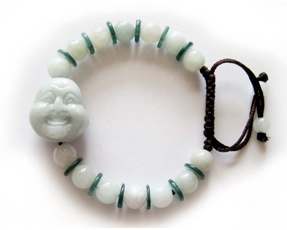 Natural Jade Jadeite Laughing Buddha Head Bead Beads Bracelet  T1709